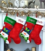 Personalized Snowman Stocking, Red Bling Christmas Snowflake, Blue Bling