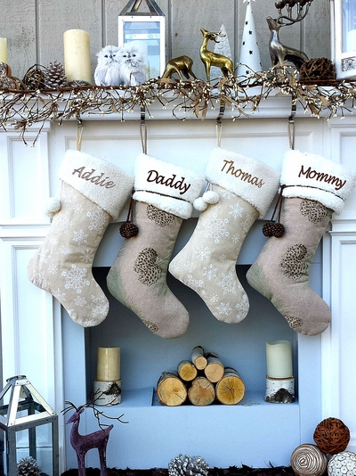 Faux Lamb Fur Cuff Winter Cabin Rustic Country Beige Brown Brown Christmas Stockings with Pine Cone or Snowflake Cozy Family Winter Burlap LinenDecor