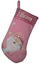 "Pink Christmas Stockings 17""  - Santa"