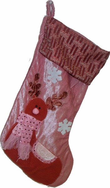 Pink Collection Designer Raindeer Personalized Stockings