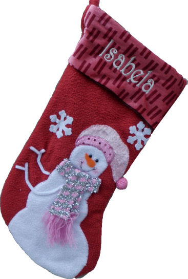 Pink Collection Designer  Stockings Snowman