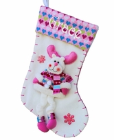Pink Girly Reindeer Christmas Stocking