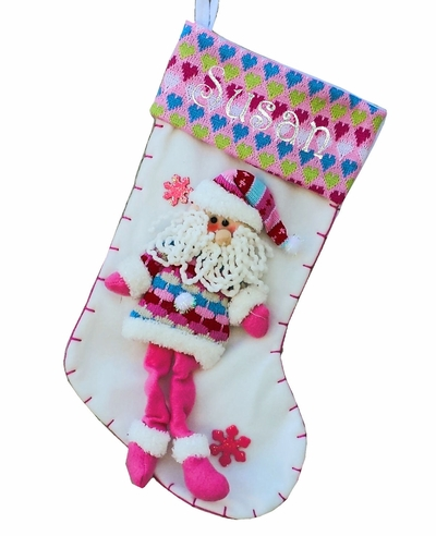 Pink Girly Santa Christmas Stocking