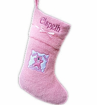 Pink Baby's First Christmas Stocking Microfleece Personalized