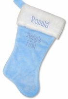 Plush Baby Blue 18'' Christmas Stocking