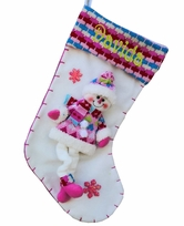 Pretty Pink Snowman Christmas Stocking