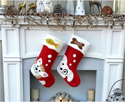 Cute Dog Cute Cat Whimsical Christmas Stockings Personalized Embroidered