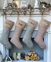 Red Ticking Striped Country Christmas Stockings - Blue Striped Vintage Look Christmas Stocking