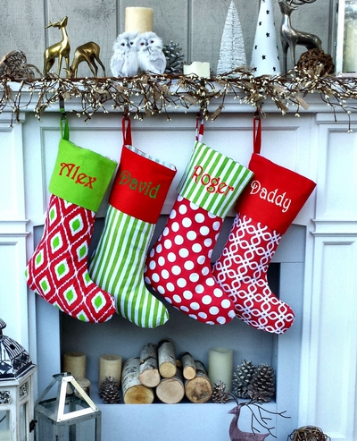 Red Lime Green Southern Home Personalized Stockings Polka Dot Stripes Trellis