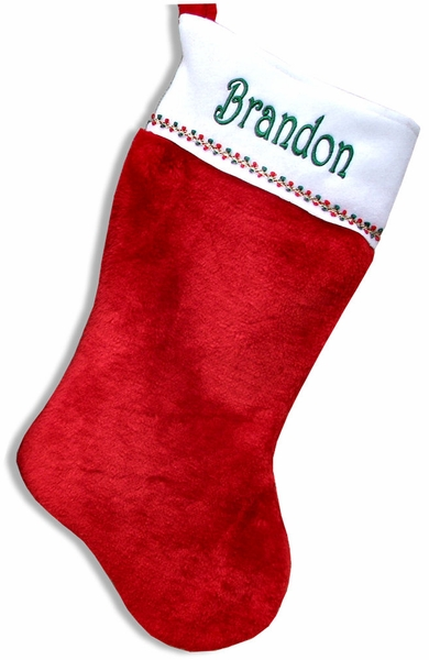 Red White Personalized Christmas Stockings - 19 in Classic Plush