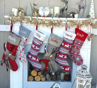 Reindeer Knit Christmas Stockings Red White Gray Scandinavian Knitted