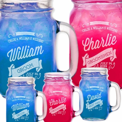 Retro Personalized Mason Jars with Handle Engraved Custom Etched