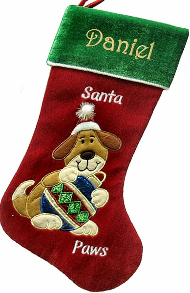 Santa Paws Personalized Dog Christmas Stocking
