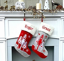 Scandinavian Trees Red Grey Embroidered Whimsical Christmas Stocking
