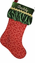 Silk Designer Christmas Stocking - Red