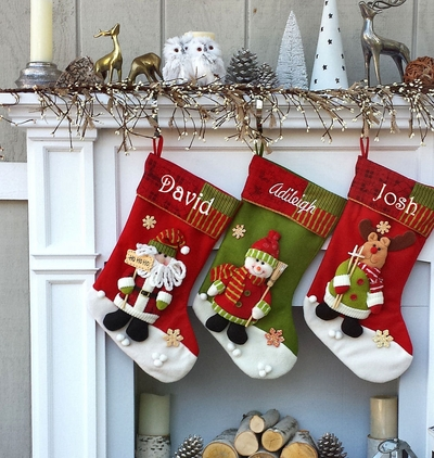 Snowman Santa Reindeer Stocking with Fun Pattern