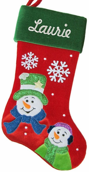 Snowflakes and Snowman Personalized Christmas Stocking