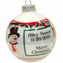 Snowman Design Photo Ornament
