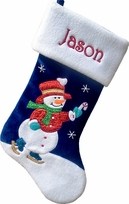 Snowman Skating Personalized Christmas Stocking for Kids
