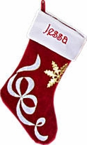 Velvet Christmas Stockings Red w/White Ribbon
