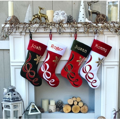 Ribbon Applique Personalized Christmas Stockings