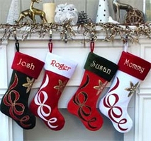 Ribbon Lique Personalized Christmas Stockings