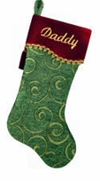 "Velvet Tapestry Olive Swirl Christmas Stockings 20.5"" Large"