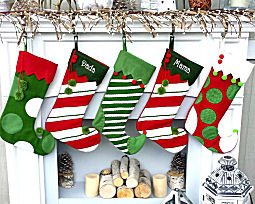 Whimsical Elf Personalized Stockings Pom Poms Red White Green Jester T