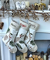 White Personalized Stockings Pine Cone Branch White Linen Canvas Woodland