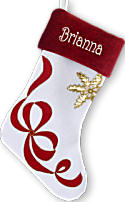 White Velvet Red Cuff Ribbon Personalized Stockings