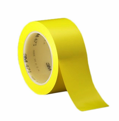 "3M� 021200-03129 Yellow 471 Vinyl 5.2 Mil Tape - 1-1/2"" x 36 Yard Roll"