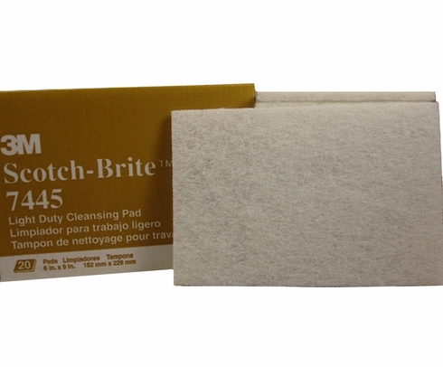 "3M™ 048011-16976 Scotch-Brite™ 7445 White Super Fine 6"" x 9"" Cleansing Hand Pad - 20 Pads/Box"