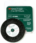 "3M™ 051131-01989 Green Corps™ Green 3"" x 1/32"" x 3/8"" Cut-Off Wheel - 5 Wheel/Pack"