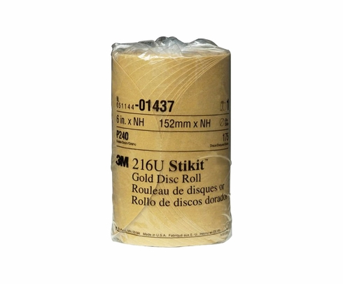 "3M� 051144-01437 Stikit� 216U Gold 6"" x NH P240 A-weight Sandpaper Disc - 175 Disc/Roll"