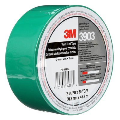 "3M� 051131-06986 Green 3903 Vinyl 6.5 Mil Duct Tape - 2"" x 50 Yard Roll"