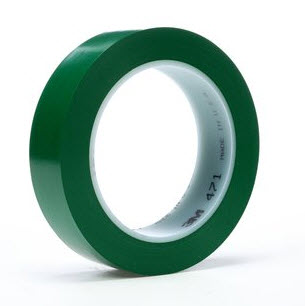 "3M� 021200-03143 Green 471 Vinyl 5.2 Mil Tape - 1/2"" x 36 Yard Roll"