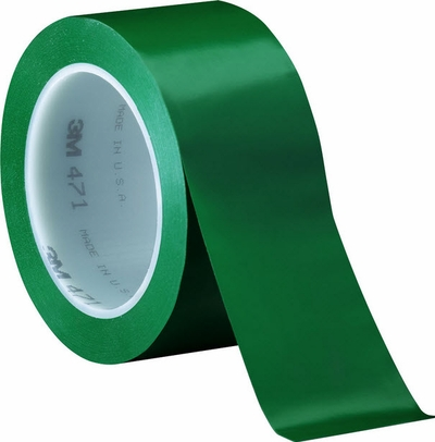 "3M� 021200-04313 Green 471 Vinyl 5.2 Mil Tape - 2"" x 36 Yard Roll"