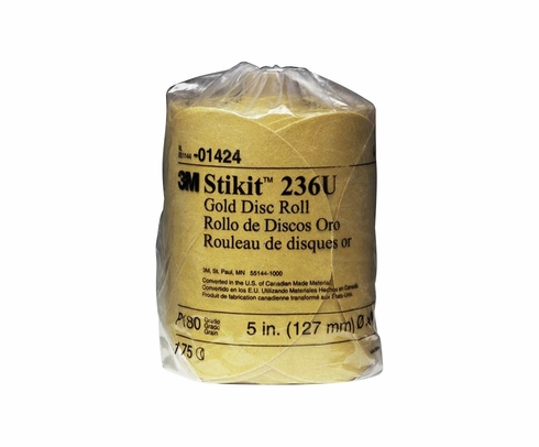 "3M� 051144-01439 Stikit� 216U Gold 6"" x NH P180 A-weight Sandpaper Disc - 175 Disc/Roll"