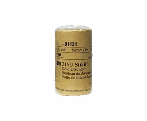 "3M� 051144-01434 Stikit� 216U Gold 6"" x NH P400 A-weight Sandpaper Disc - 175 Disc/Roll"