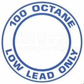 "AeroGraphics ""AVGAS 100LL OCTANE LOW LEAD ONLY"" Placard"