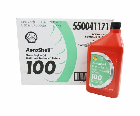 AeroShell Oil 100 SAE Grade 50 Straight Mineral Aircraft Oil - Quart Bottle