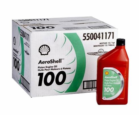 AeroShell Oil 100 SAE Grade 50 Straight Mineral Aircraft Oil - 12 Quart/Case