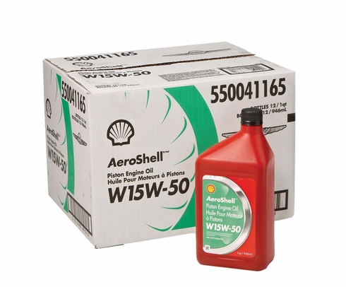 AeroShell� Oil 550041165 15W-50 Multi-grade Aircraft Oil - 12 Quart/Case