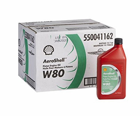 AeroShell� Oil 550041162 W80 SAE Grade 40 Ashless Dispersant Aircraft Oil - 12 Quart/Case