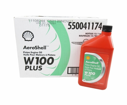 AeroShell W100 Plus SAE Grade 50 Ashless Dispersant Aircraft Oil - Quart Bottle