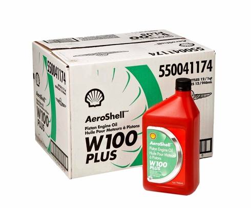 AeroShell W100 Plus SAE Grade 50 Ashless Dispersant Aircraft Oil - 12 Quart/Case