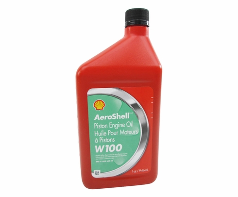 AeroShell Oil W100 SAE Grade 50 Ashless Dispersant Aircraft Oil - Quart Bottle