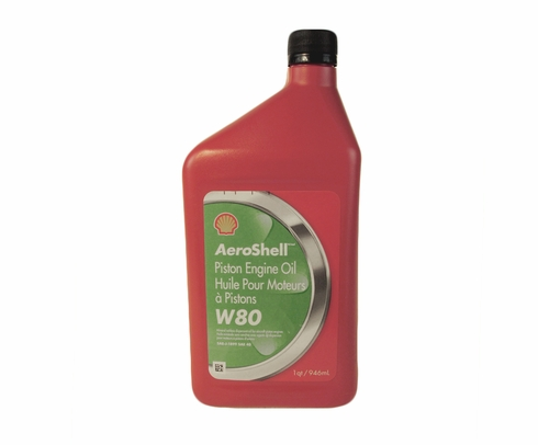 AeroShell� Oil 550041162 W80 SAE Grade 40 Ashless Dispersant Aircraft Oil - 946 mL (Quart) Bottle