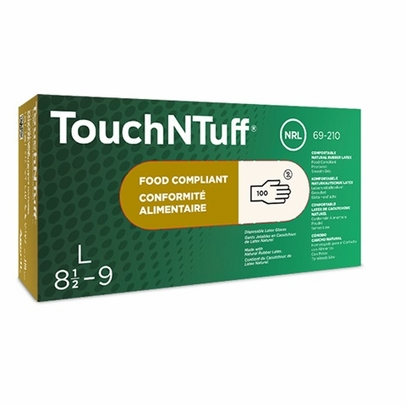Ansell 69-210-L TouchNTuff® Large Ambidextrous Powdered Smooth Grip Natural Rubber Latex Glove - 100 Glove/Box