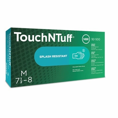 Ansell 92-500-L TouchNTuff® Green Large Powder-Free Textured Finger Grip Nitrile Gloves - 100 Glove/Box